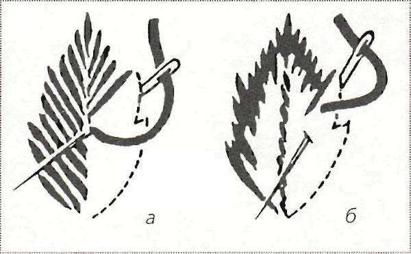 Вышивка гладью листочка