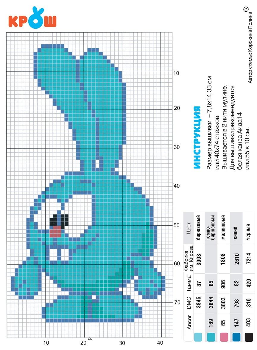 Схема вышивки крестом для детей легкие