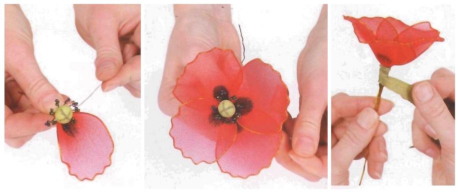 Цветок из капроновых лент своими руками мастер класс