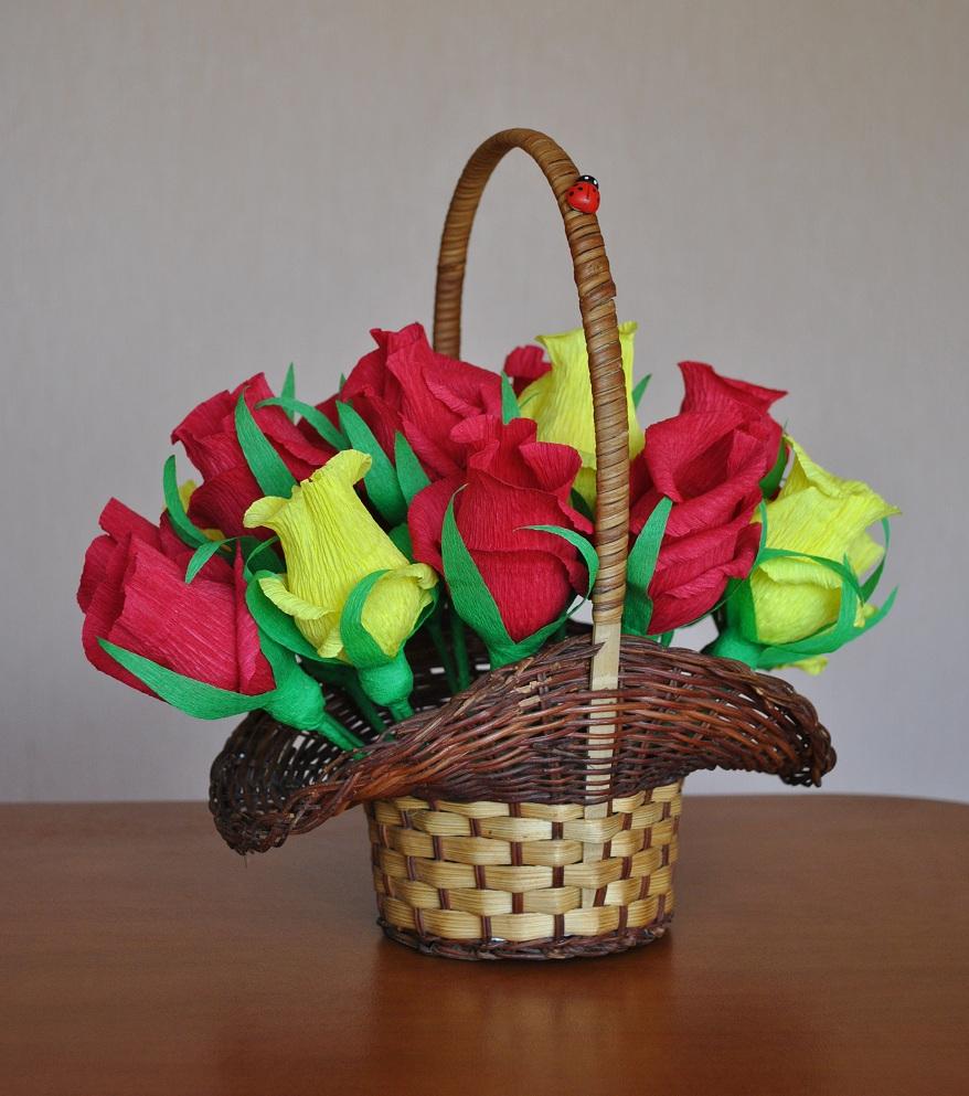 Как сделать корзинку из конфет и бумаги