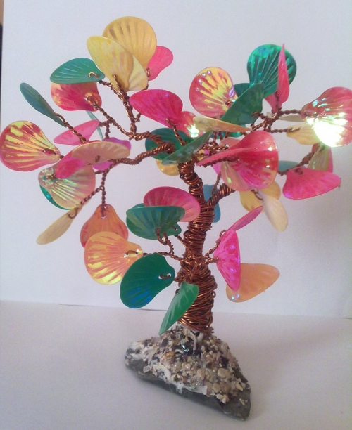 Дерево счастья плетение из бисера и паеток