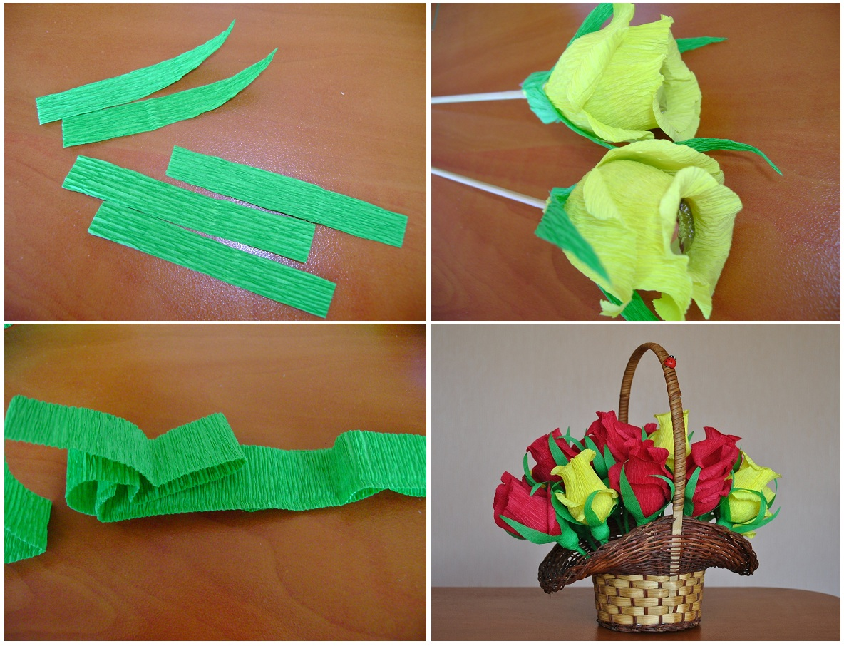 Цветы из бумаги гофрированной бумаги с конфетами своими руками пошагово