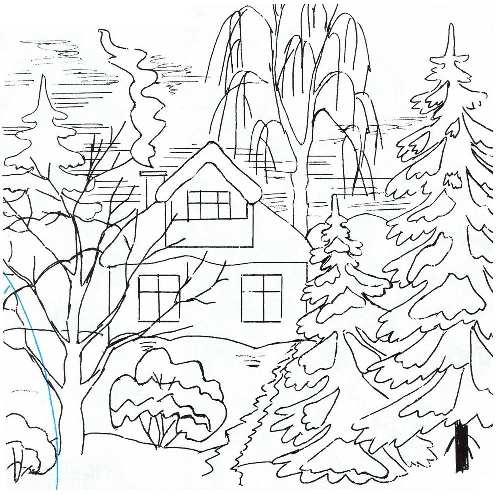 Картинка лес зимний раскраска