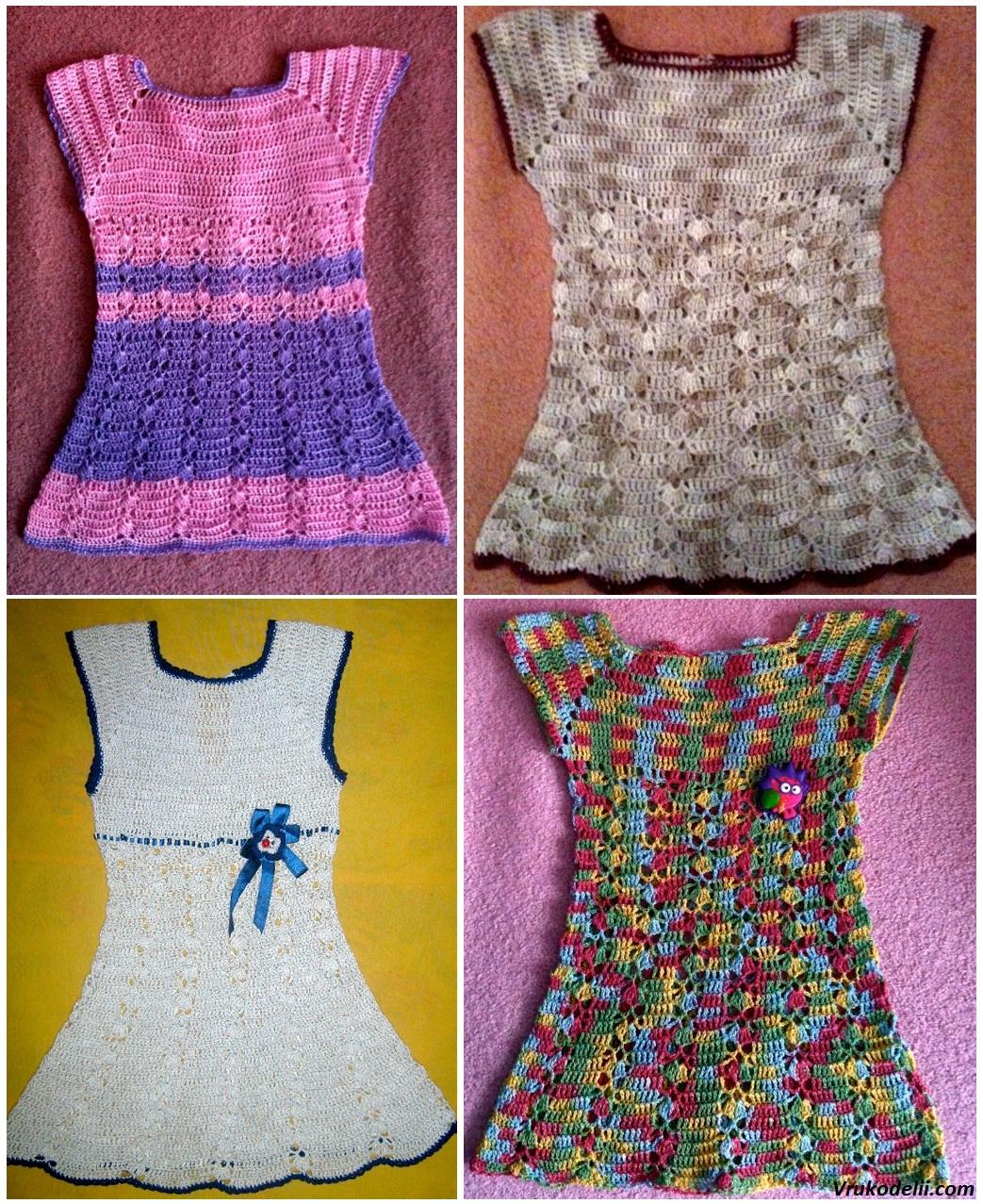 Платье для девочки крючком схема вязания 130