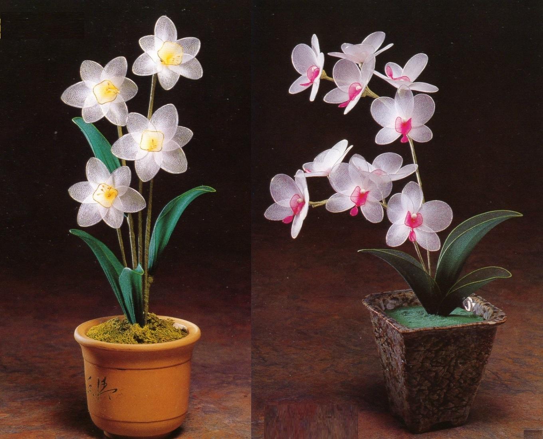 Орхидея цветок из ткани 136