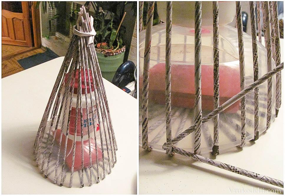 Плетение газетными трубочками ёлочкой
