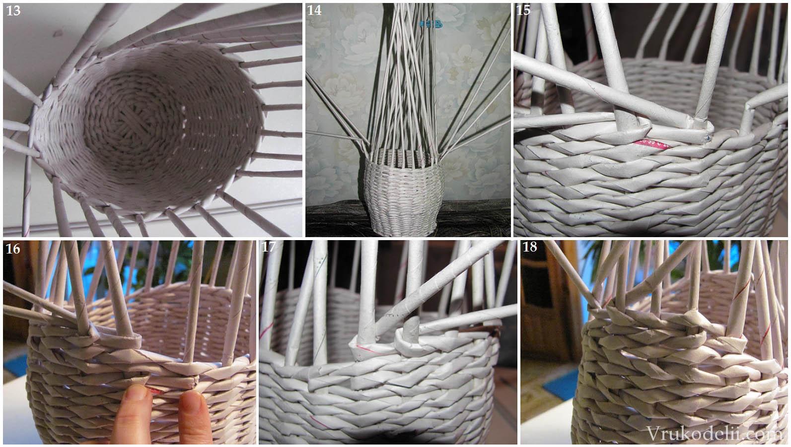 плетение из газетных трубочек схемы плетения