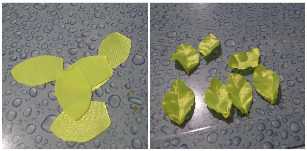 Вышивка листьев из атласной лента