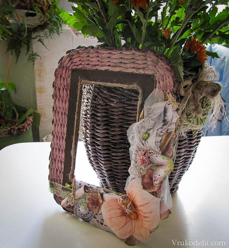 плетение из газетных трубочек рамок для фото вид