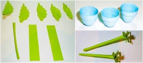 Как сделать из бумаги листики для цветов