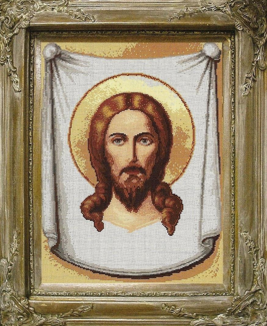 Вышивка крестом иконы иисуса