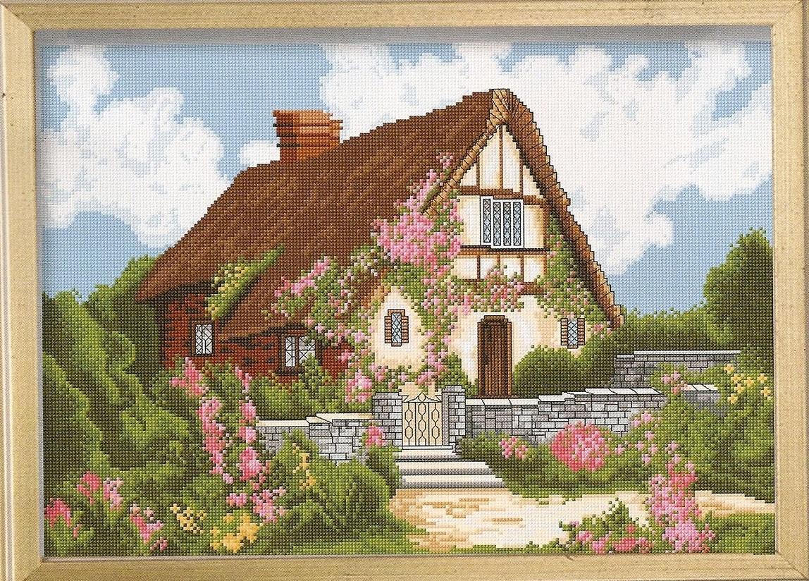 Вышивка крестиком дома домики 40
