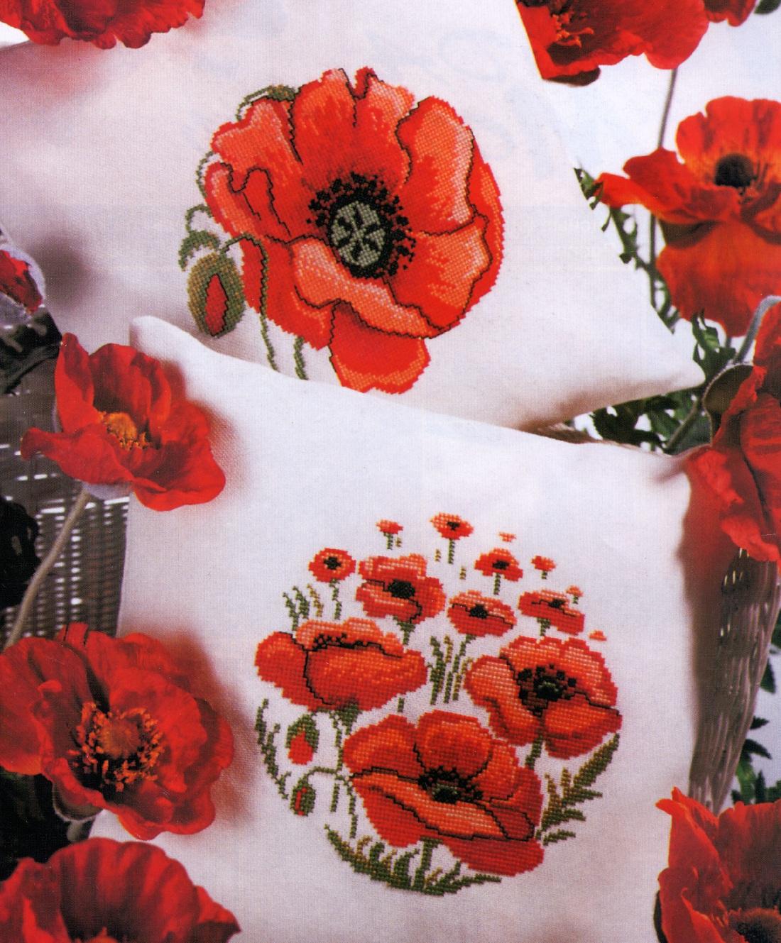 схема красный мак крестом подушка