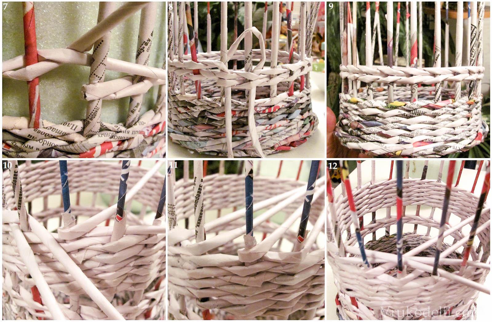 Плетение из газет корзинка своими руками мастер класс с пошаговым фото