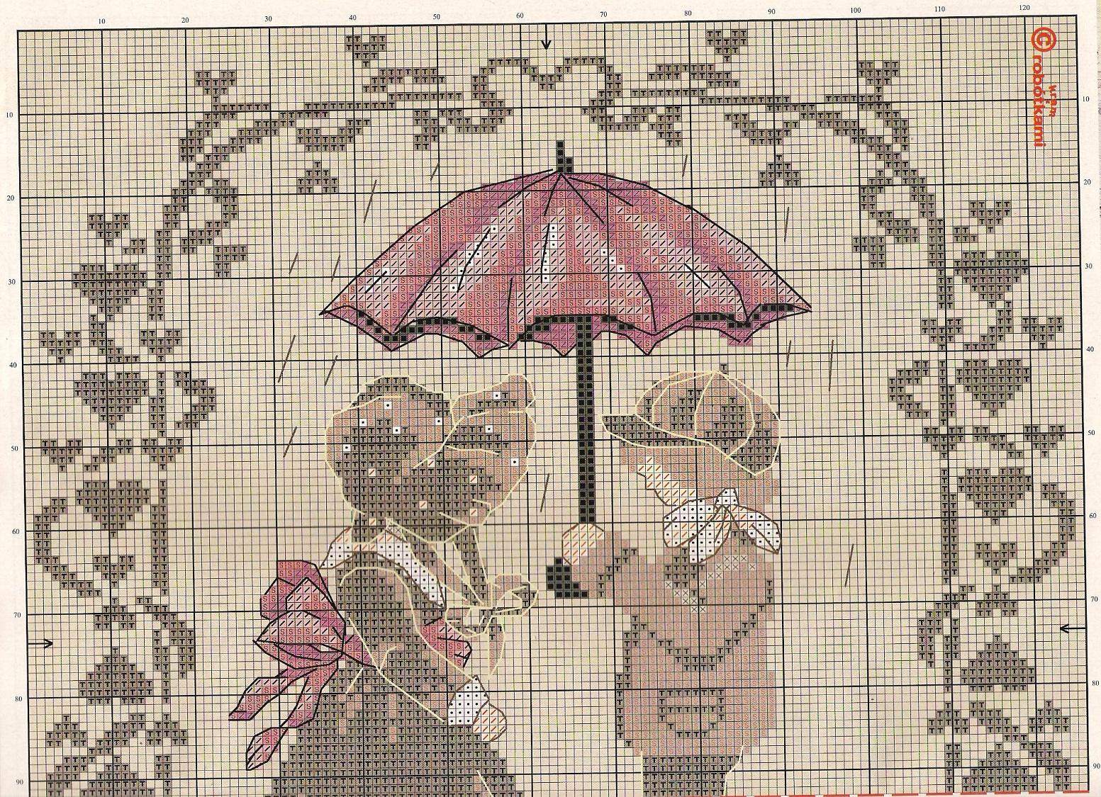 влюбленные схемы вышивки крестом