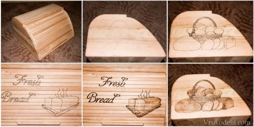 Хлебница из полосок дерева