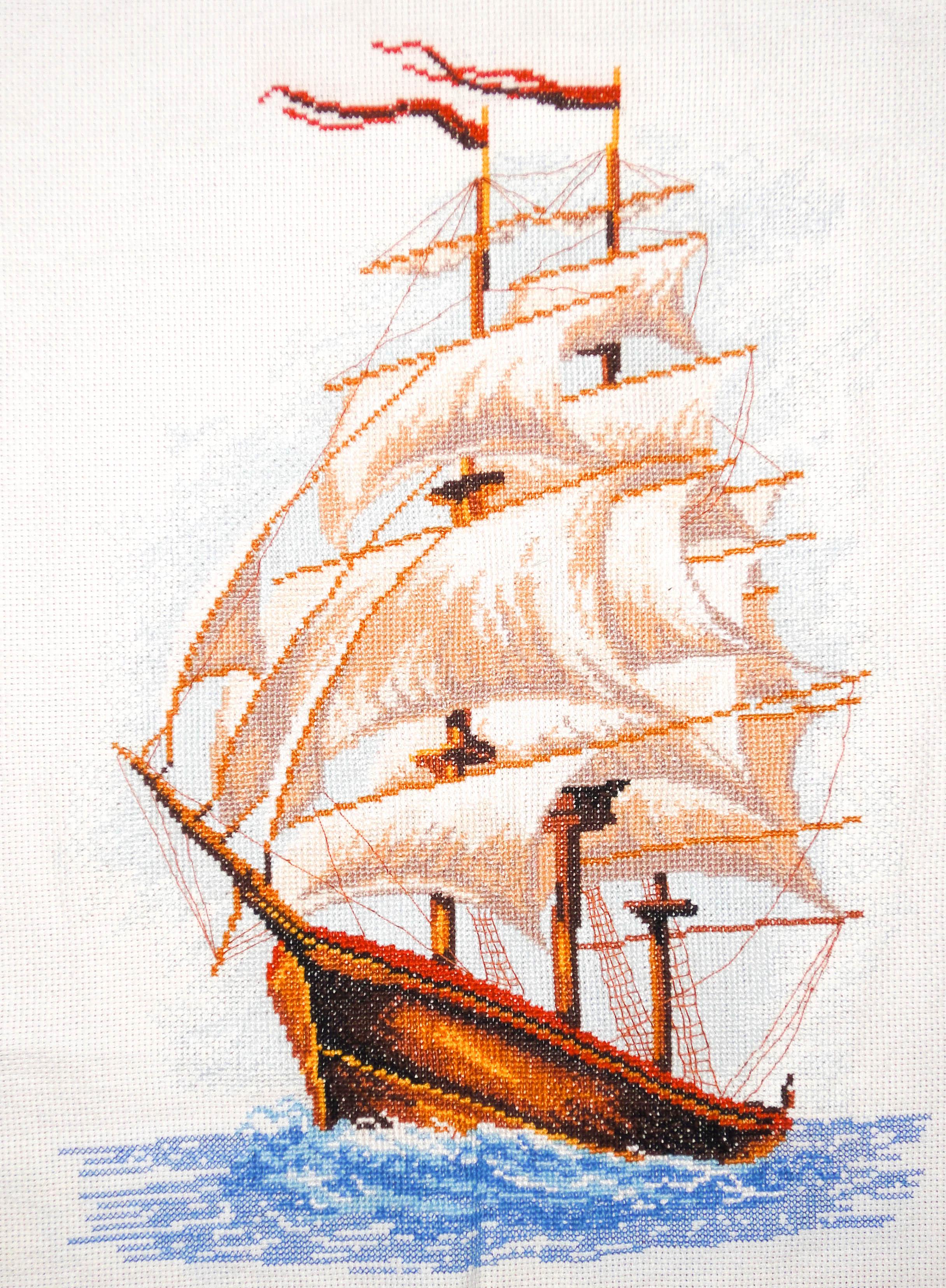 Схема вышивки кораблей