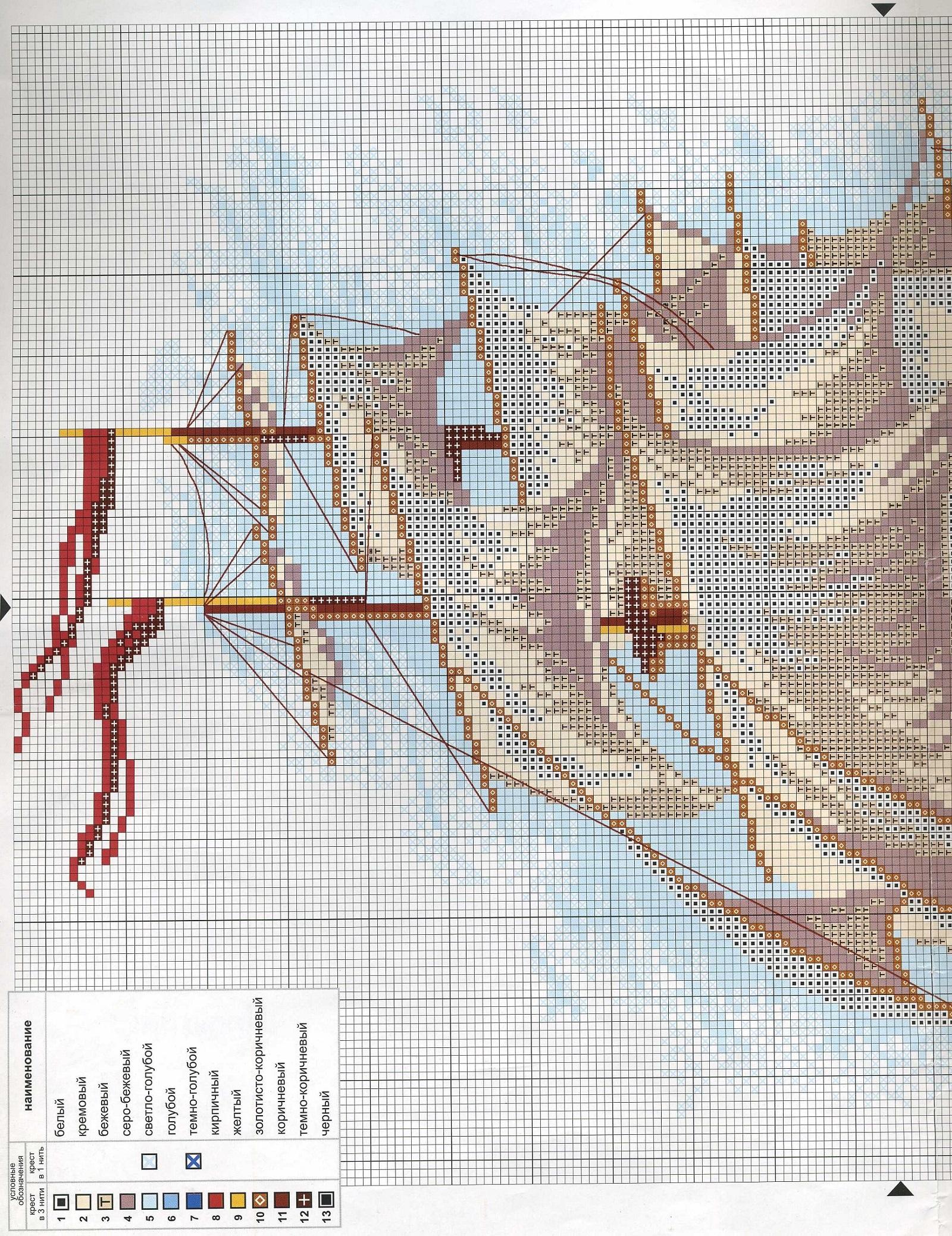 Вышивка крестом схемы с парусниками 318