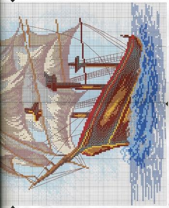 Схемы вышивки парусников крестиком