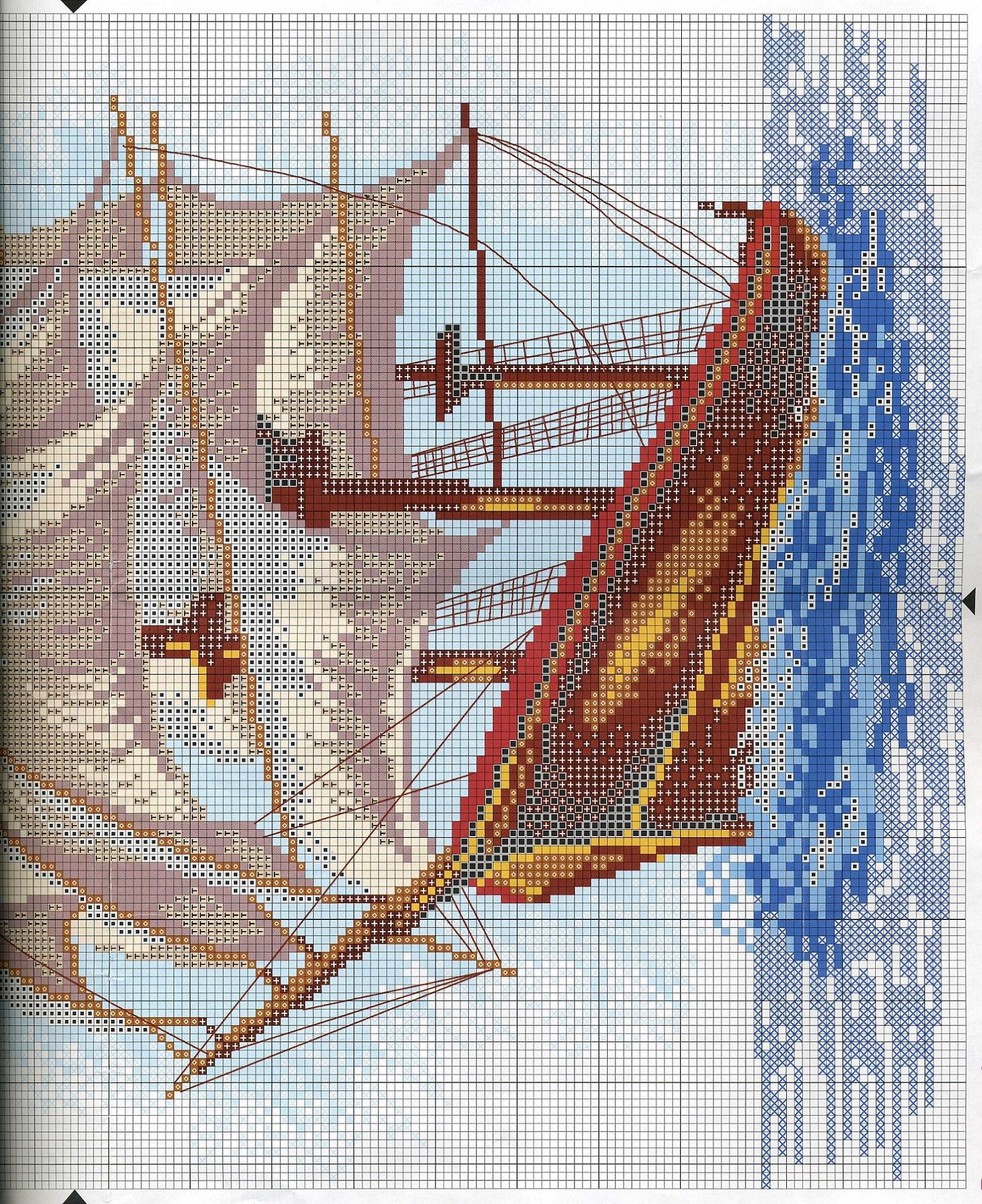 Схема вышивки корабля 68