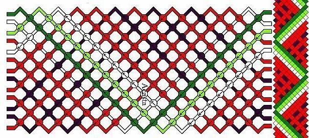 Фенечка с арбузами прямое плетение