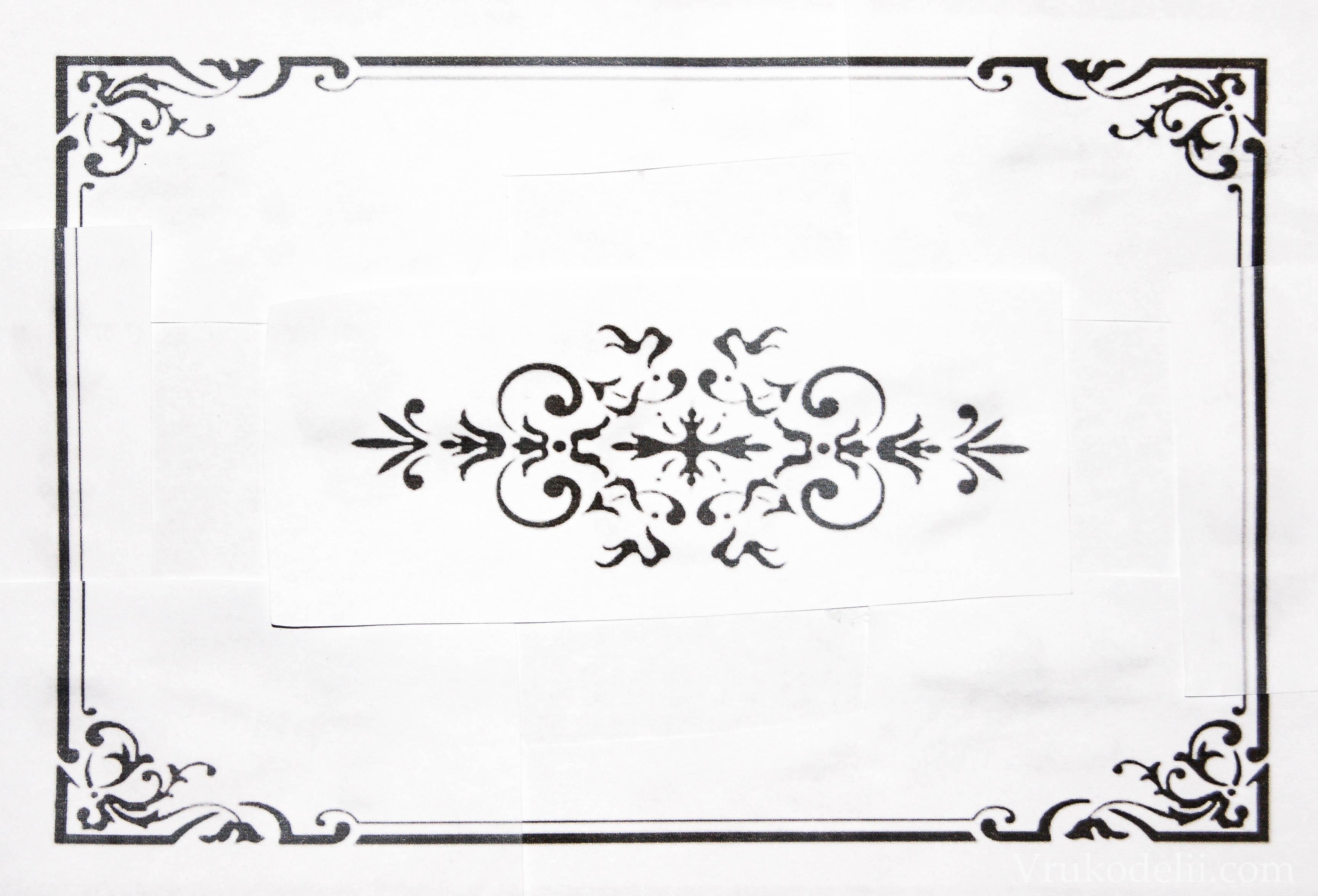 Рисунок на шкатулку трафарет