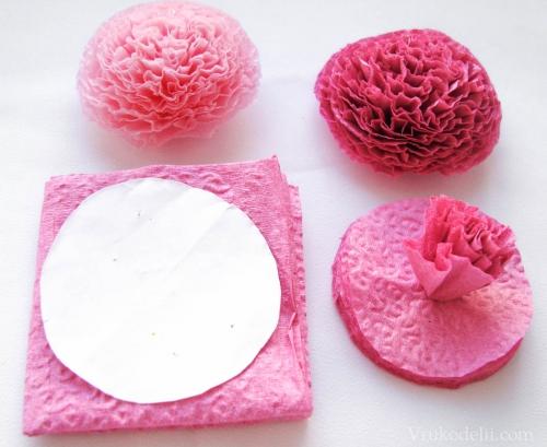 Цветы из бумажных салфеток для начинающих пошагово