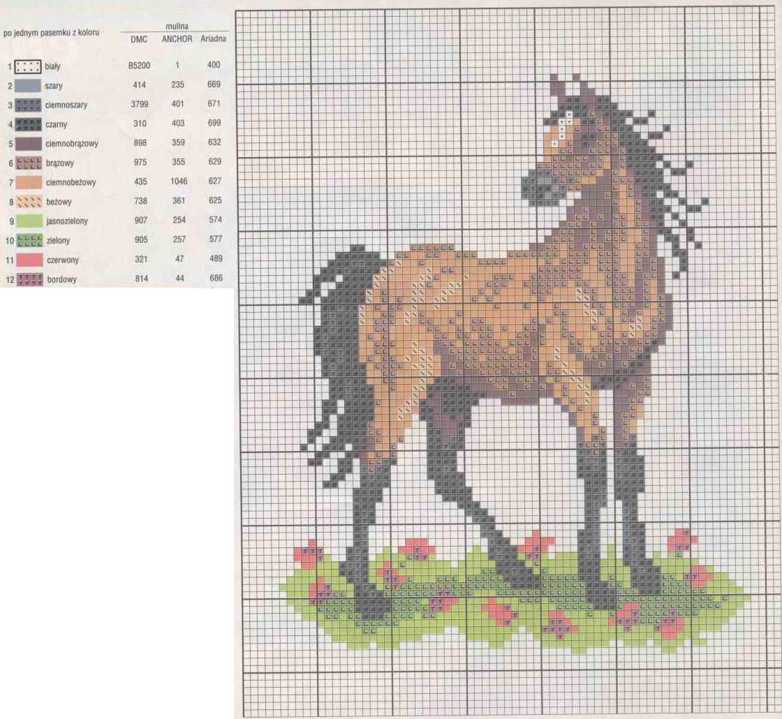 Схема вышивки крестом лошади большого размера 63