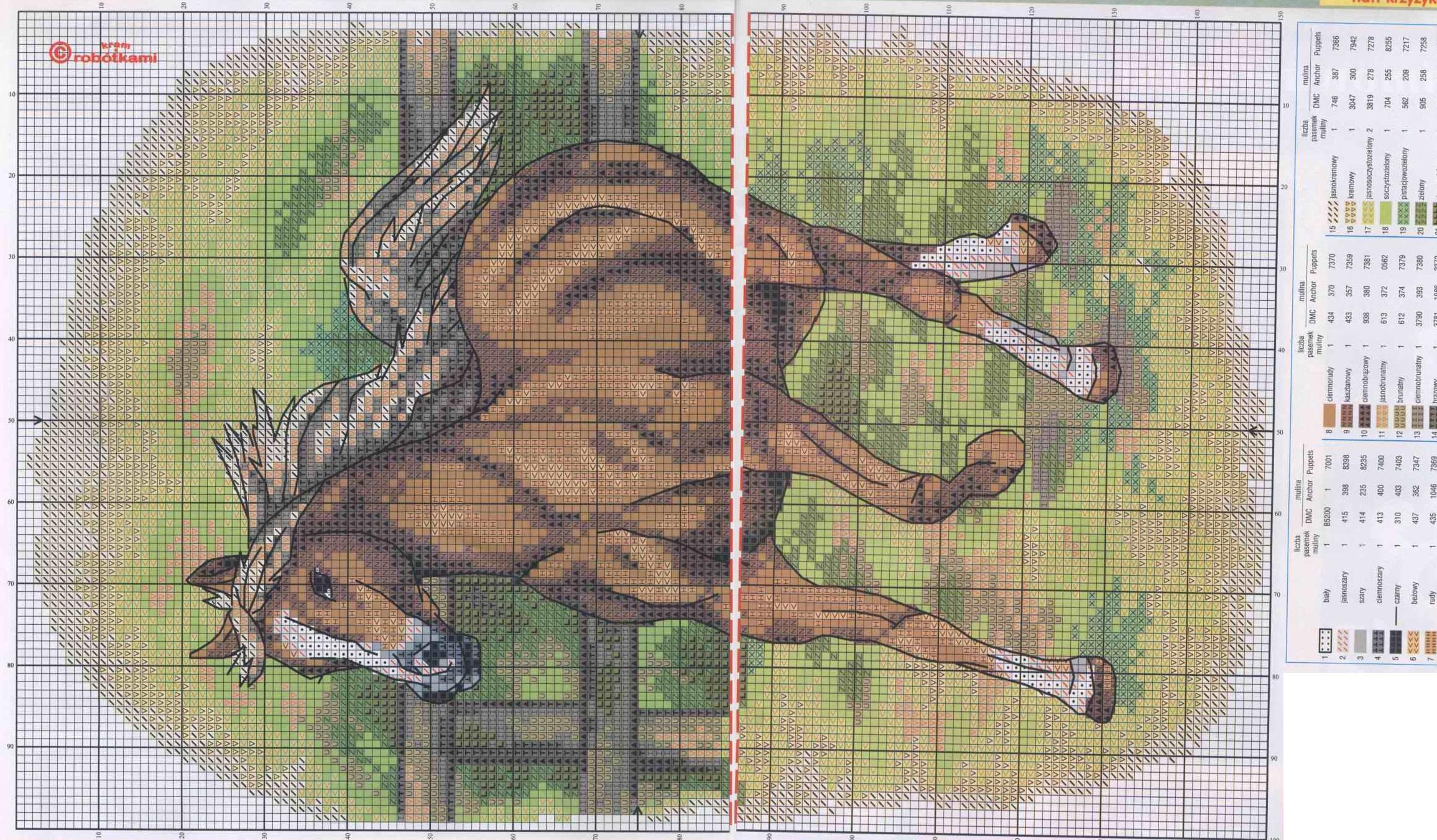 Схемы вышивки лошадей в воде