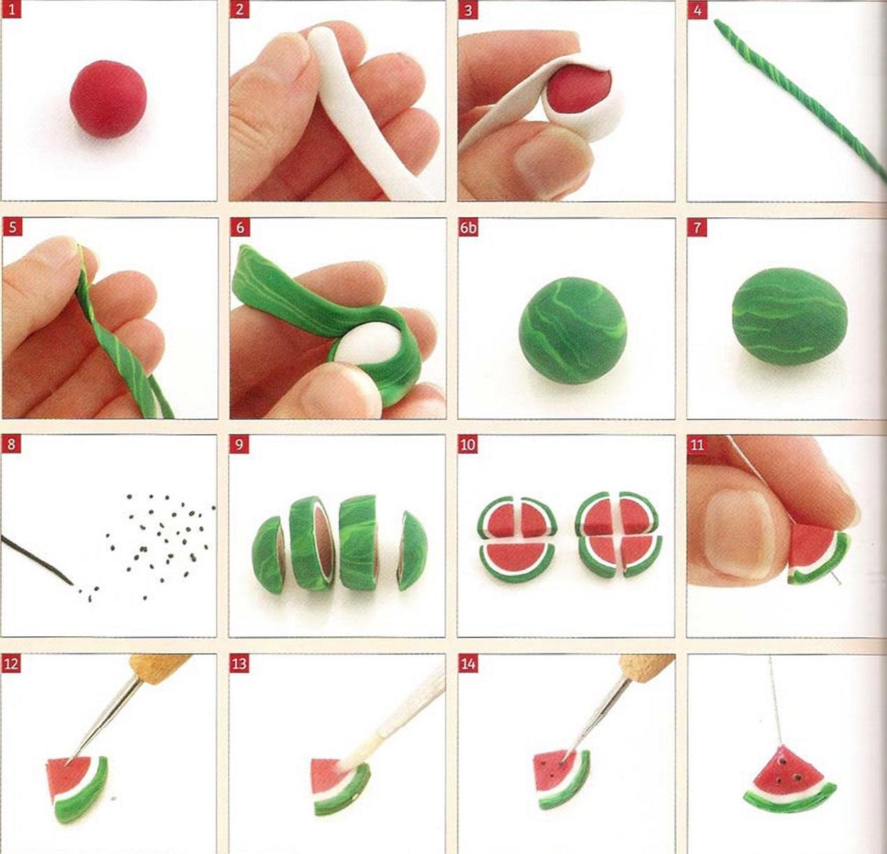 Как сделать арбуз для кукол из пластилина