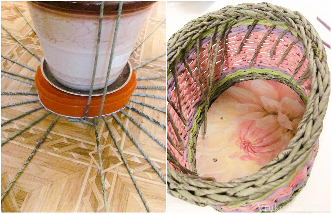 Плетем корзинку с донышка и крышкой видео