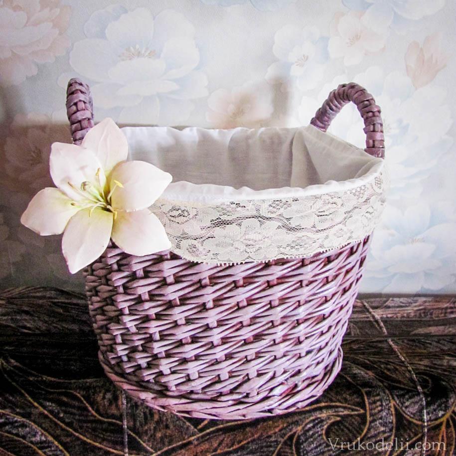 Плетеная корзинка из газеты своими руками фото