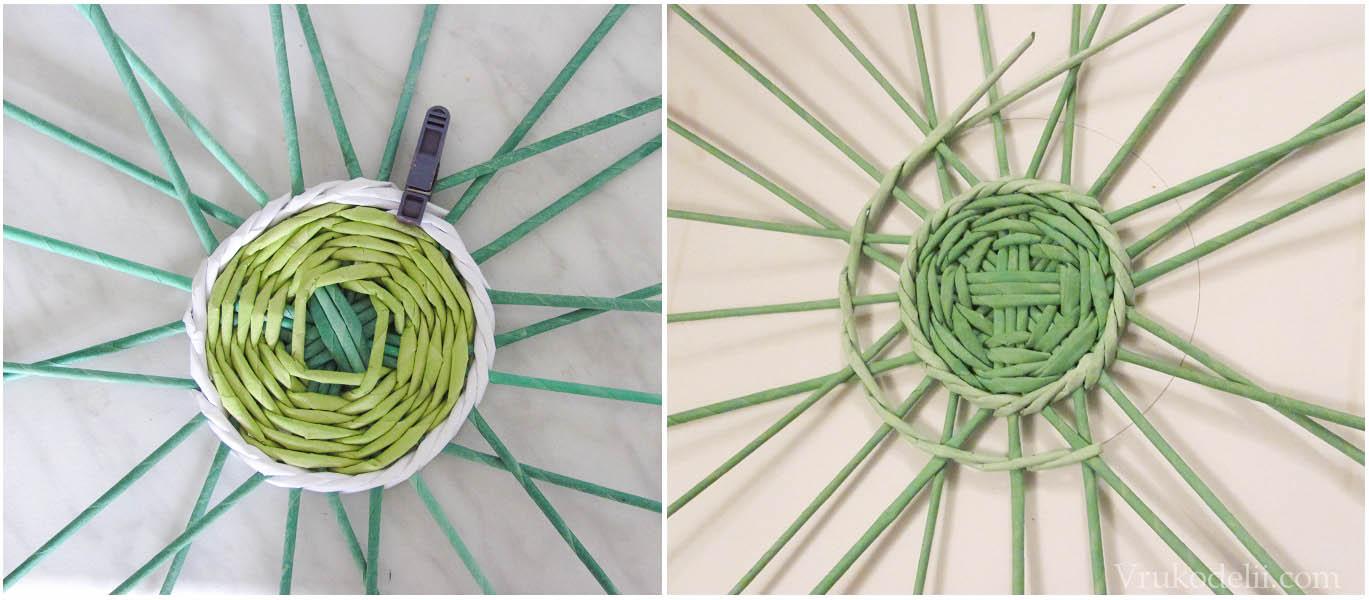 Плетение по кругу из газетных трубочек мастер класс