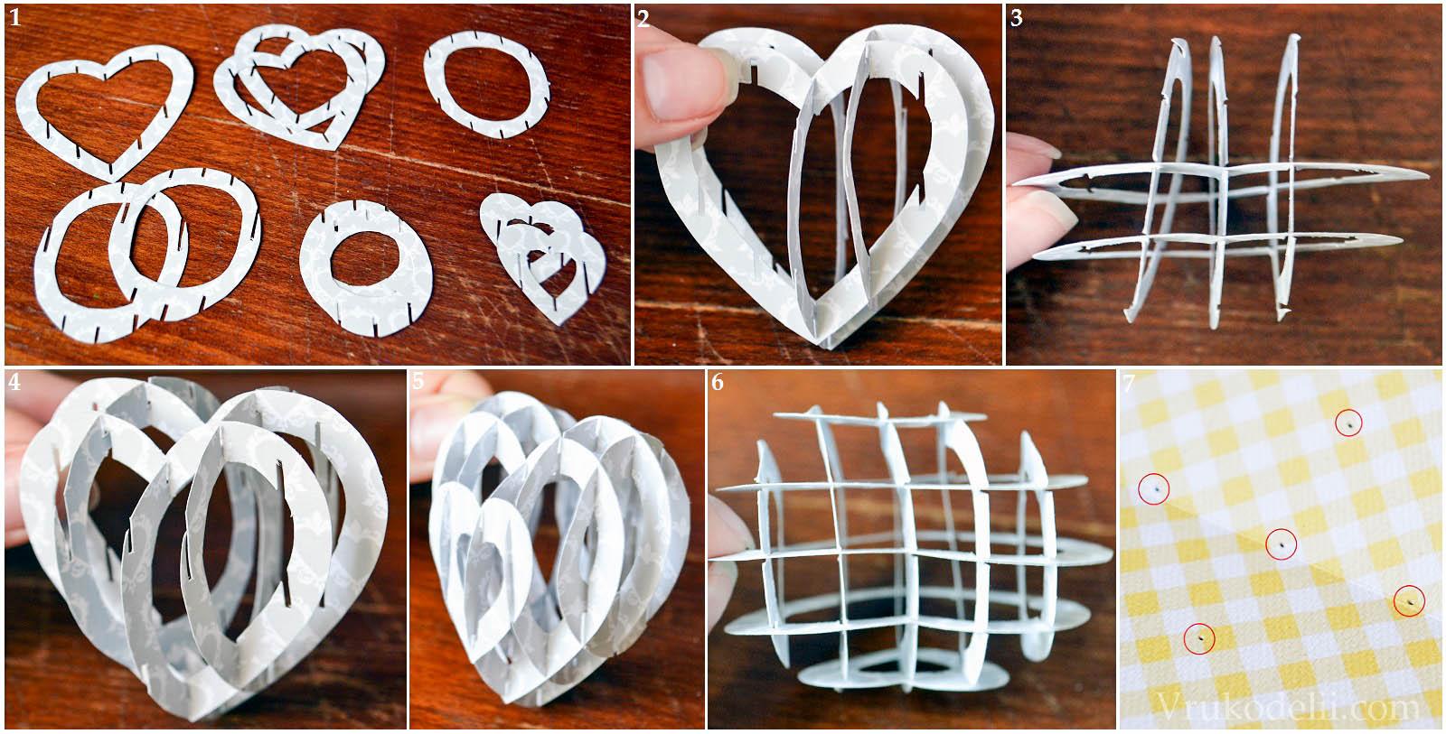 Как сделать объемное сердце из бумаги из картона
