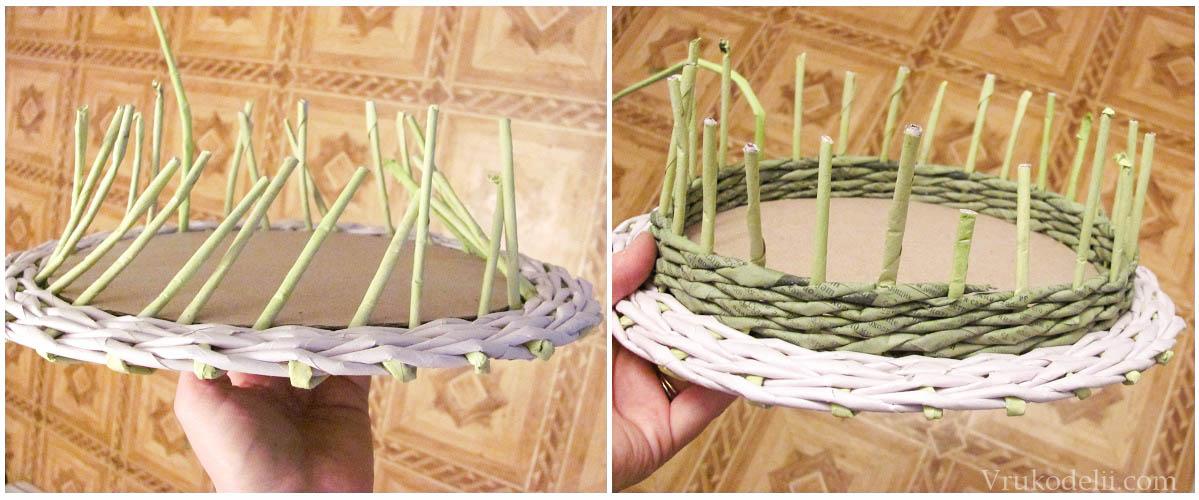 Как сделать дно из картона для плетения из газетных трубочек