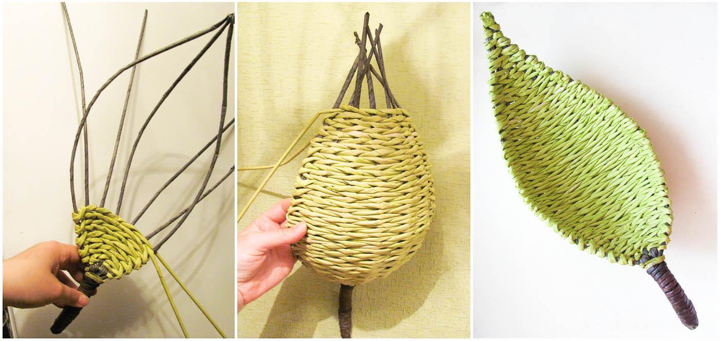 Плетение из газетных трубочек для начинающих пошагово поднос