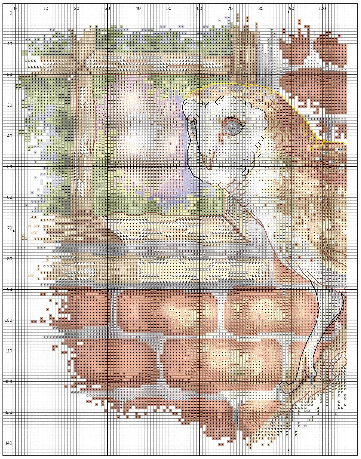 Схема вышивки совы на дереве