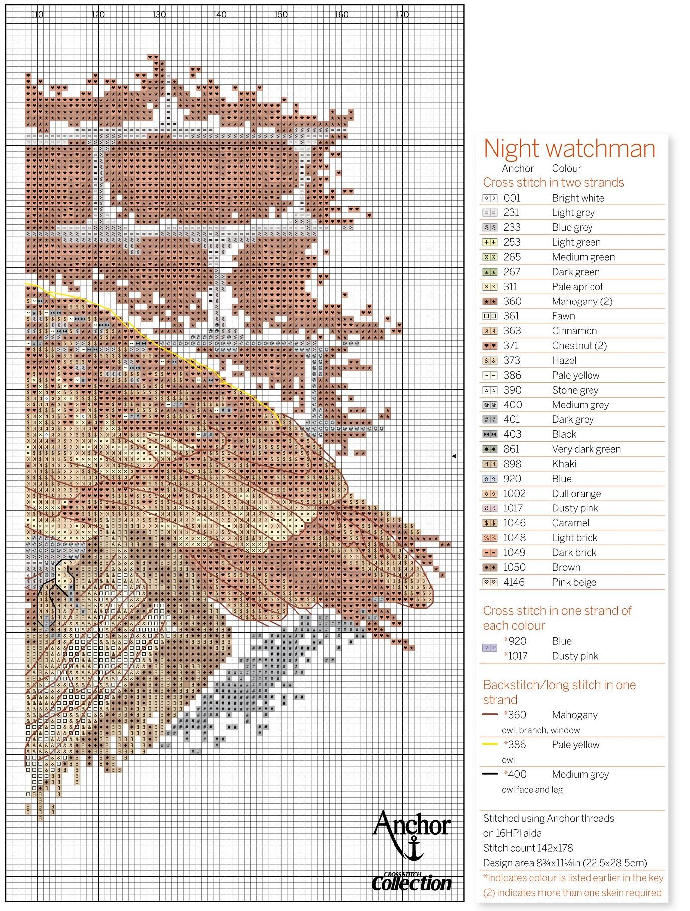 схема вышивки крестом птицы сова