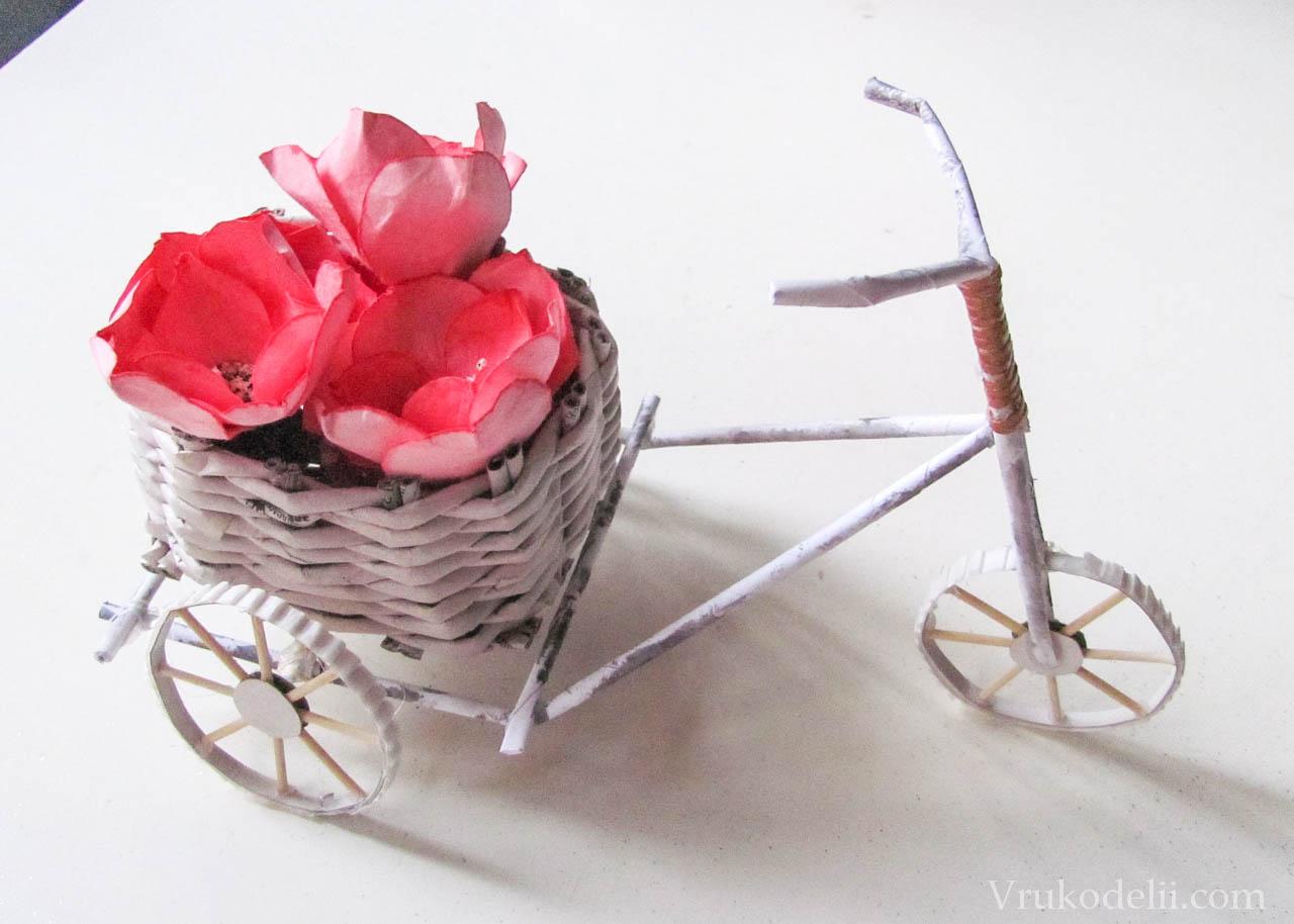 Плетение велосипеда поделка из газет