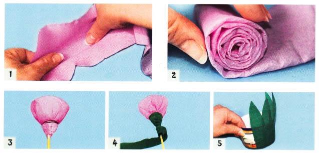 Розы из гофрированной бумаги делаем своими руками пошагово