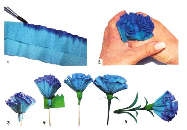 Как сделать гвоздику из гофрированной бумаги своими