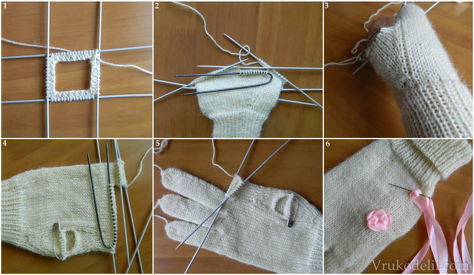 Вяжем детские перчатки спицами мастер класс фото