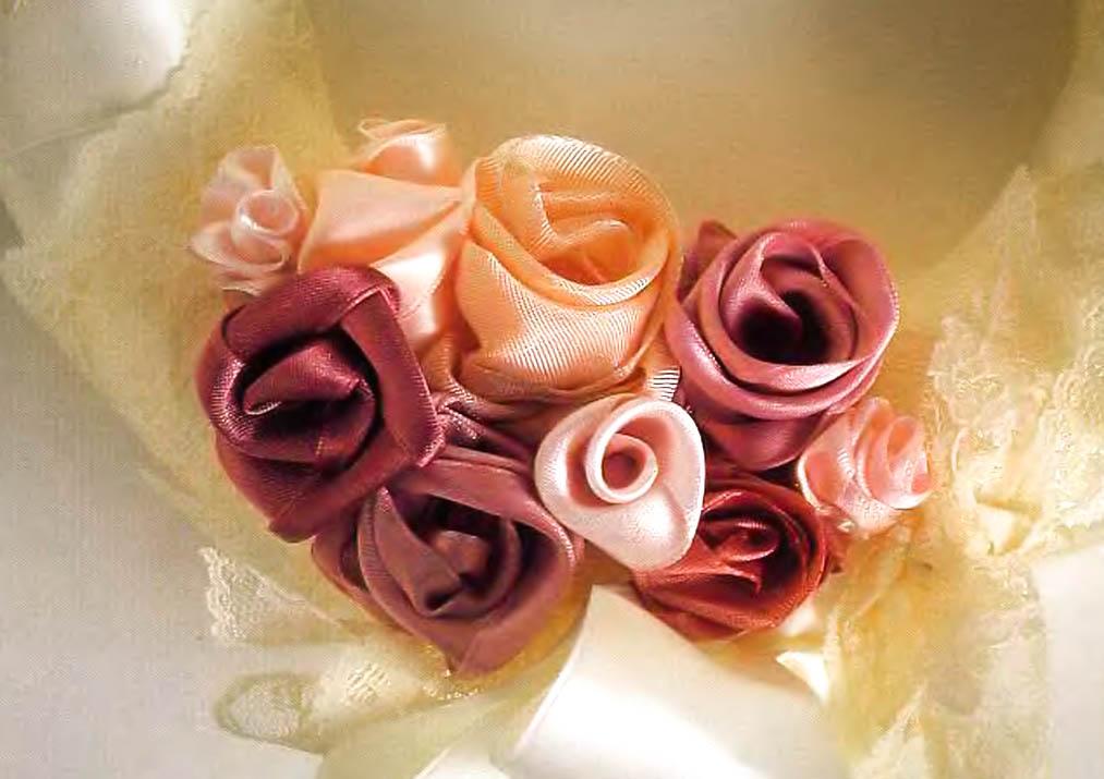 Цветы из ткани своими руками ленты 2