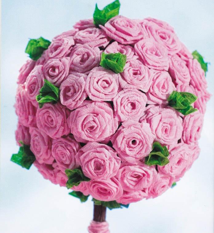 Бумажная роза для топиариев