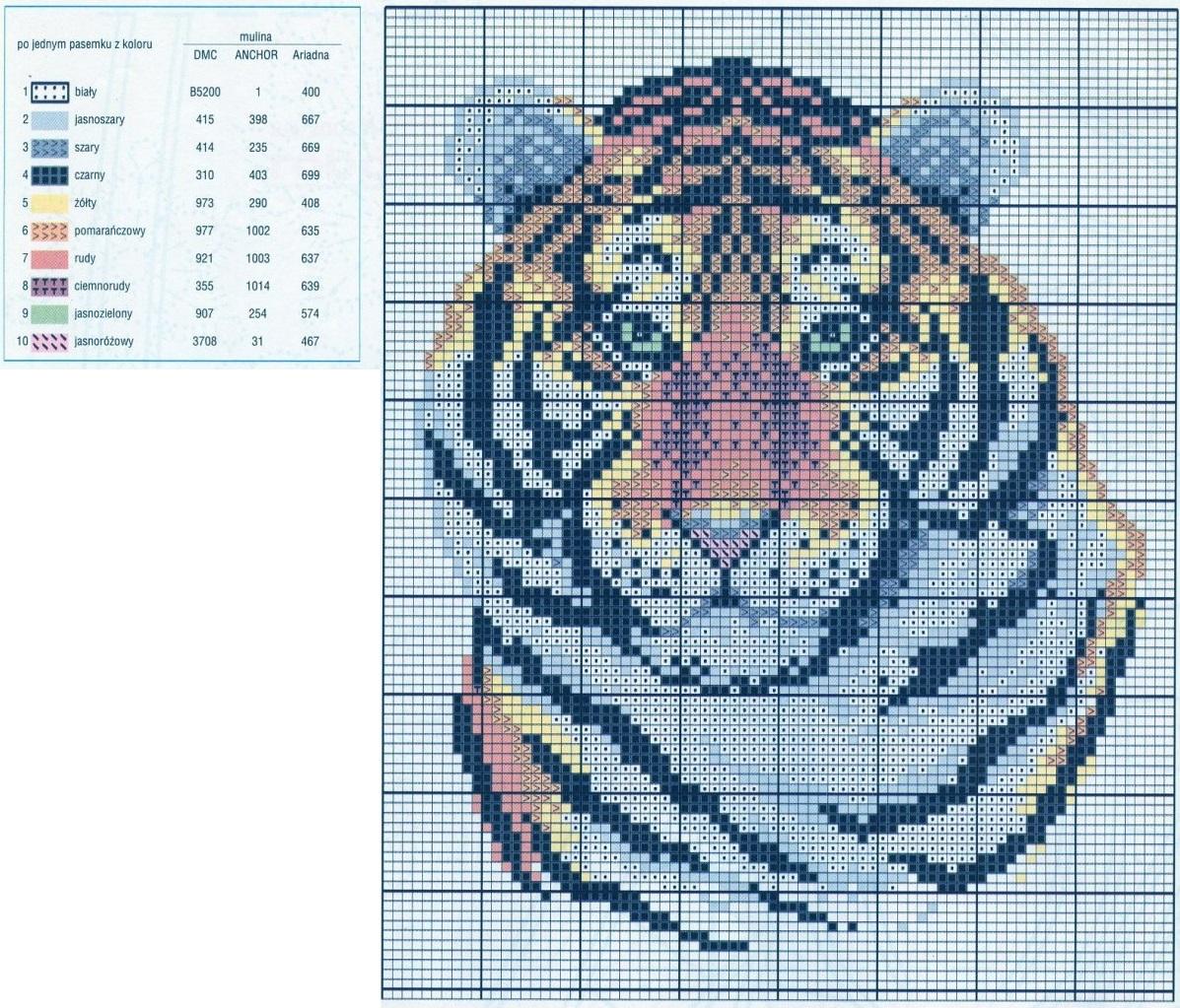 Вышивка крестик тигр схемы схема тигры