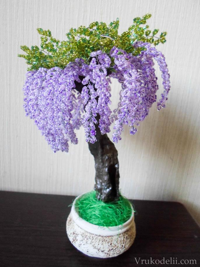 Дерево глициния из бисера мастер класс фото