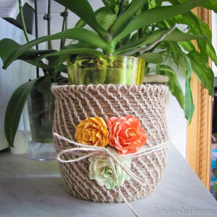 Кашпо для цветов своими руками нитками фото фото 964