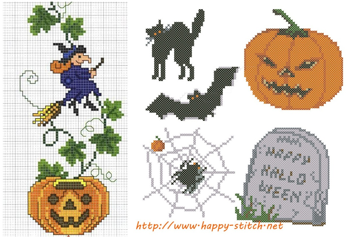 Вышивка крестом схема хэллоуин