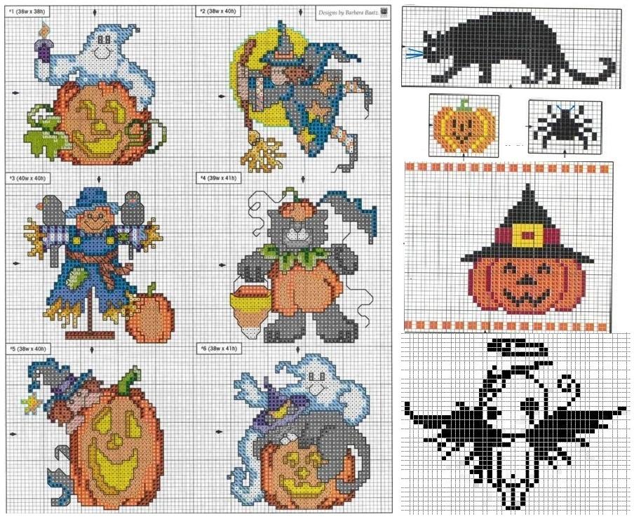 Схема вышивки крестом хэллоуин