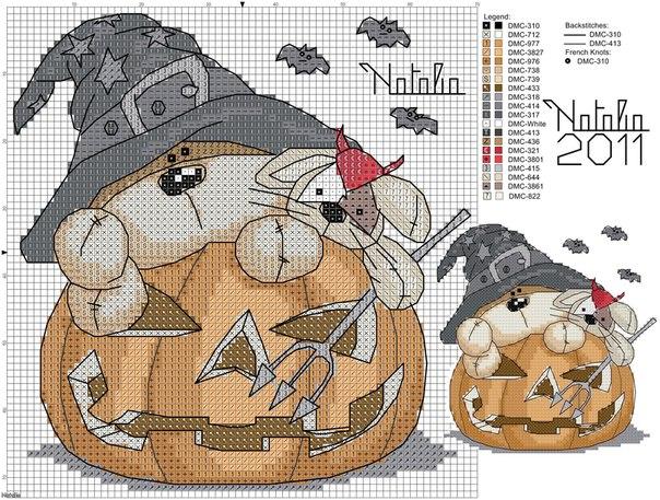 Схемы вышивки крестом хэллоуин
